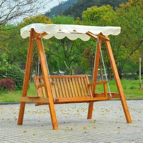 wooden bench swing outsunny 2 seater wood garden chair swing bench lounger cream