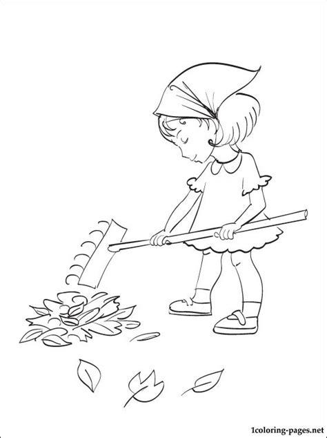 coloring pages of raking leaves leaf raking coloring page coloring pages