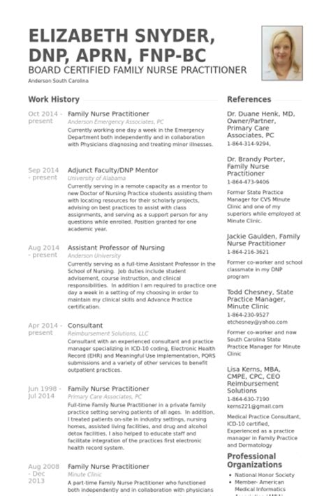 Nursing Resume And Cv Curriculum Vitae Sles For Practitioner Recentresumes