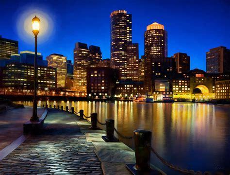 paint nite boston mass boston harbor skyline painting of boston massachusetts