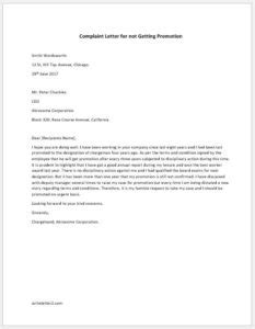 Complaint Letter To Manager About Promotion complaint letter for not getting promotion writeletter2