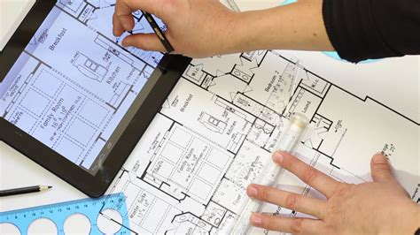 home design programs for tablets the house plan on tablet screen and on paper an architect