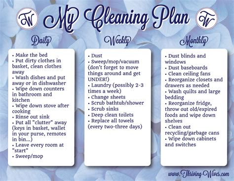 house cleaning free weekly house cleaning plan