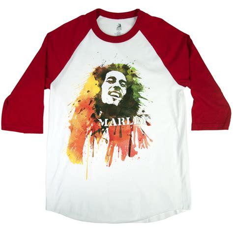 Raglan Bob Marley bob marley watercolor portrait white raglan men s