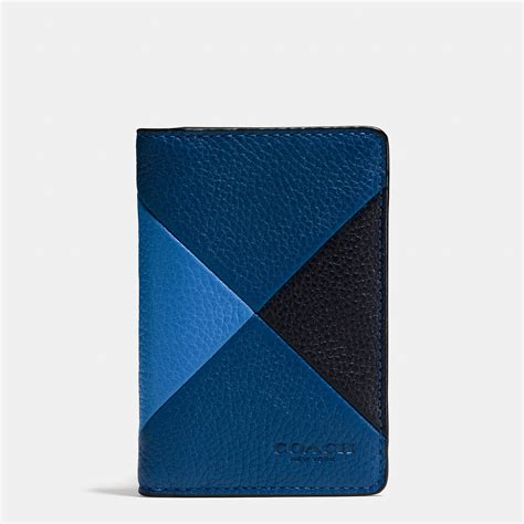 Coach Patchwork Wallet - coach card wallet in patchwork pebble leather in blue for