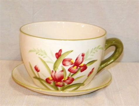 Large Coffee Cup Planter by New Large Iris Flowers Coffee Cup Saucer Planter Herb