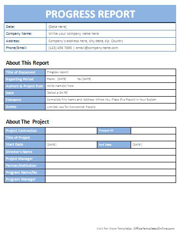 progress report template free business template