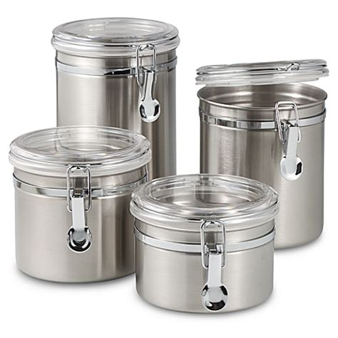 airtight kitchen canisters oggi airtight stainless steel canisters with acrylic tops set of 4 bed bath beyond