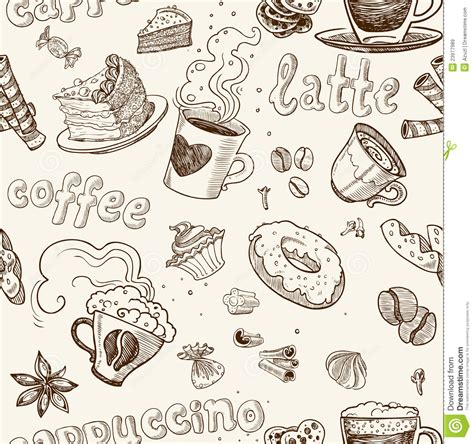 seamless pattern coffee seamless pattern with coffee cakes pies and latte royalty