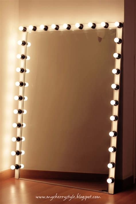 Vanity Mirror Light by Diy Style Mirror With Lights Tutorial From Scratch For Real Cherry Style