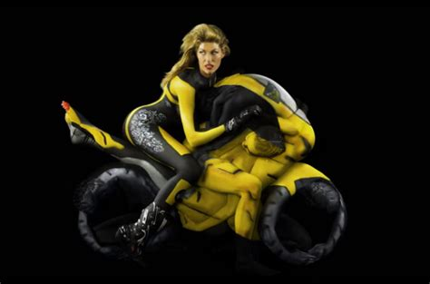 Body Painted Models in Yoga Poses Look Like Motorcycles