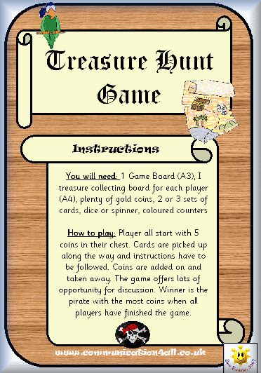 printable board game instructions fun printable treasure hunt game hunt for the pirate