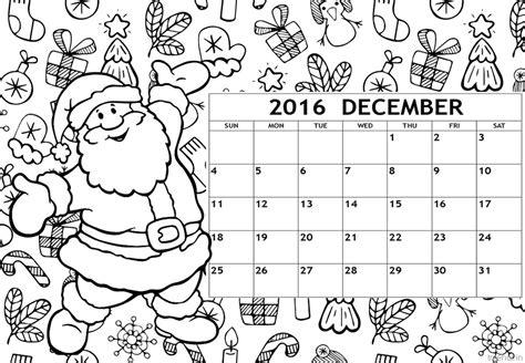 december  calendar coloring page  printable
