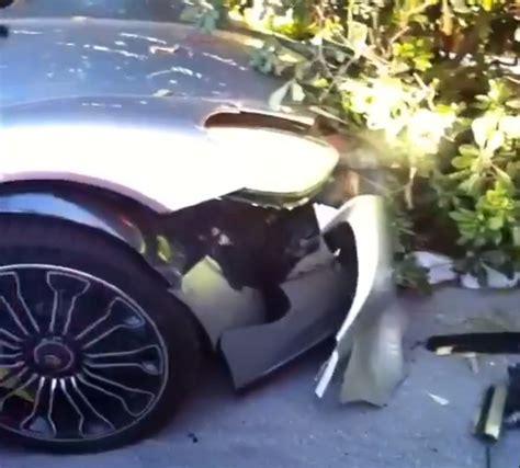 porsche 918 crash bare chested douchebag crashes porsche 918 spyder missing