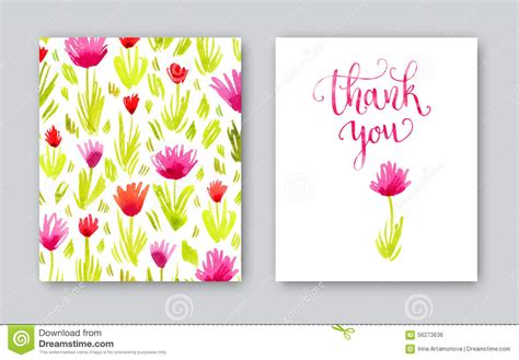 thank you card template free vector watercolor thank you card template stock illustration