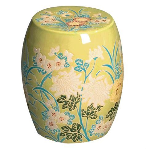 Ivory Garden Stool by Fern Green Turquoise Ivory Flower Design Ceramic Garden