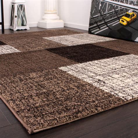 teppiche muster designer teppich kurzflor karo muster braun creme meliert