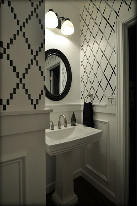 bathroom wall stencil ideas imperial trellis stencil contemporary bathroom benjamin afternoon sabbe