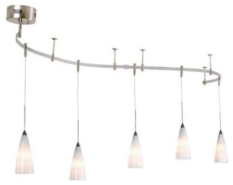 Pendant Light Rail Kit With White Snowflake Glass 8 Feet Pendant Rail Lighting