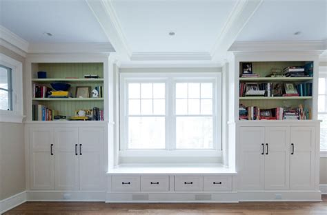 custom bookcase and bench seat traditional bookcases