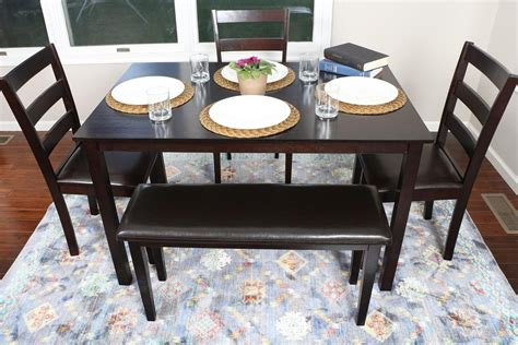 espresso kitchen table set 5 kitchen dining table set 1 table 3 leather chairs 1 bench espresso brown discount