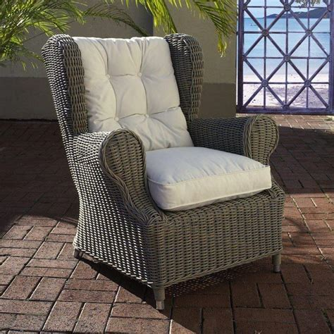 outdoor wingback chair white fabric cushion gray wicker
