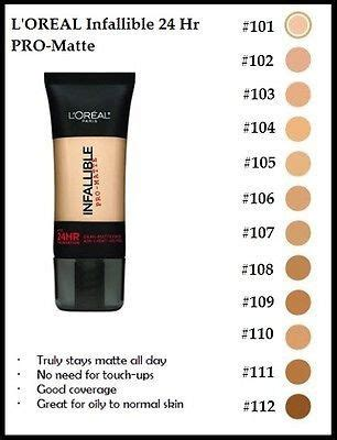 l oreal infallible colors image result for l oreal infallible pro matte color chart
