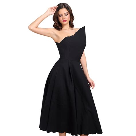 22240 Black Oblique Cut Size L s black oblique neck one shoulder swing midi dress n15246