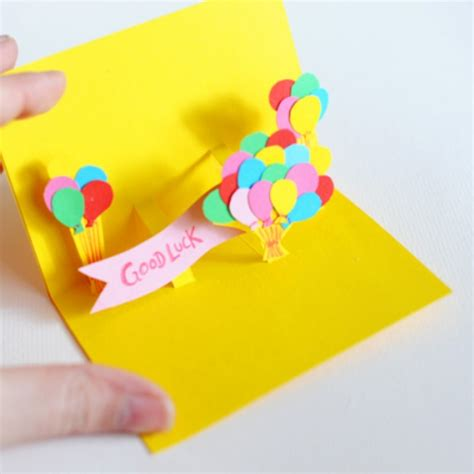 how to make handmade pop up birthday cards 3d pop up a balloon card handmade cardsbay