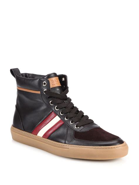 high top bally sneakers bally hervey leather high top sneakers in brown for lyst