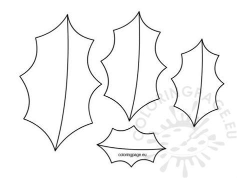 printable holly templates coloring page