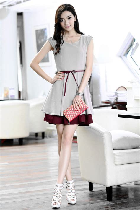 Murah Donela Mini Dress korean fashion summer chiffon dress slim waist straps ol mini skirt one gray