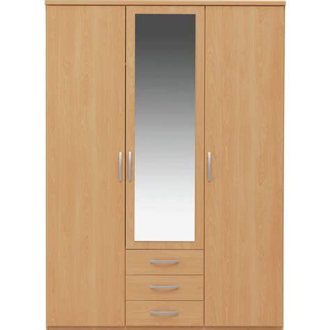 Beech Wardrobe - buy collection new hallingford 3 dr 3 drw mirror wardrobe