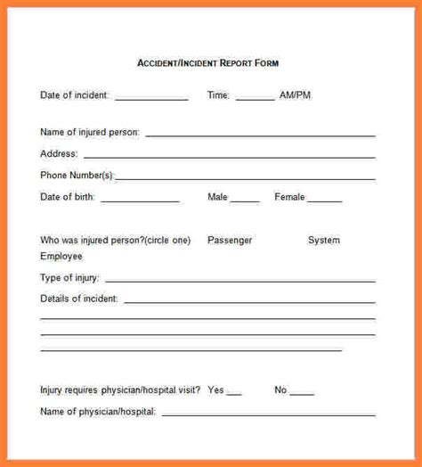 4 accident incident report form template progress report