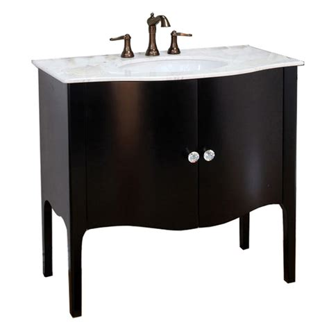 Black Bathroom Vanity With White Marble Top Shop Bellaterra Home Black Undermount Single Sink Bathroom Vanity With Marble Top