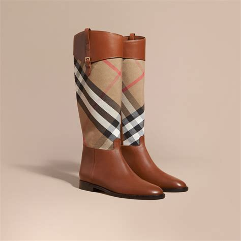 burberry boots for burberry house check and leather boots lyst