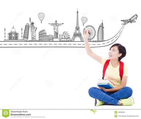 student drawing a travel trip landmark stock photo image of background laptop