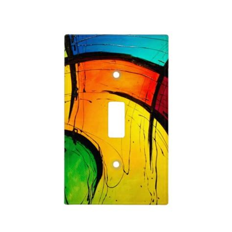 groovy modern abstract painting light switch cover zazzle
