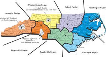 carolina regions map nc deq monitoring data by site