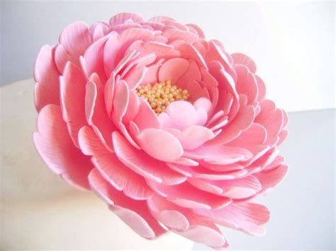 coral pink peony wedding cake flower clay flower cake