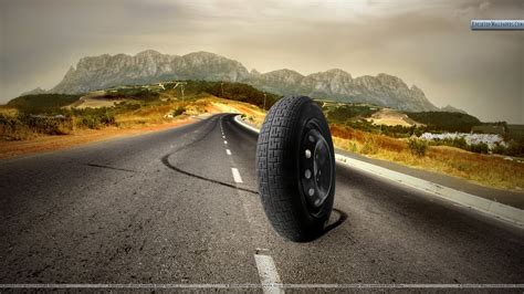 road tires tyre running on a road wallpaper