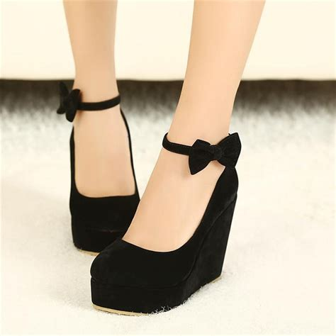 shoe vogue black bow wedges high heels