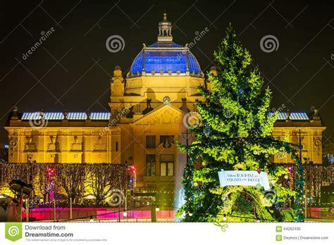 art design zagreb zagreb art pavilion with decorated green christmas tree