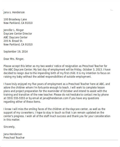 Resignation Letter From Preschool To Parents Sle Child Care Resignation Letter 5 Exles In Pdf Word