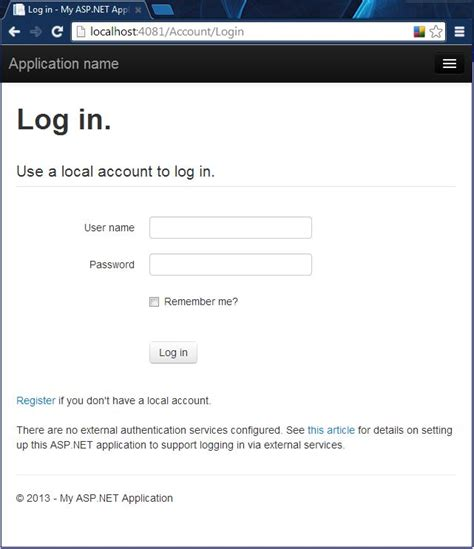 login page in asp net template how to configure mvc 5 app login options