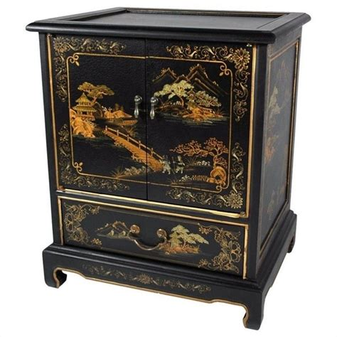 Oriental Furniture Japanese End Table in Black   LCQ ETB BC