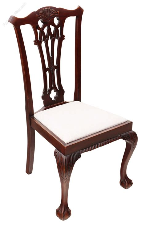 Antique Chippendale Dining Chairs Set 6 Mahogany Chippendale Revival Dining Chairs Antiques Atlas