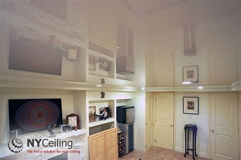 stretch ceiling basement nyceiling inc portfolio basements white glossy