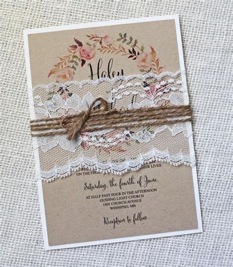 diy shabby chic wedding invitations rustic wedding invitation lace wedding invitation
