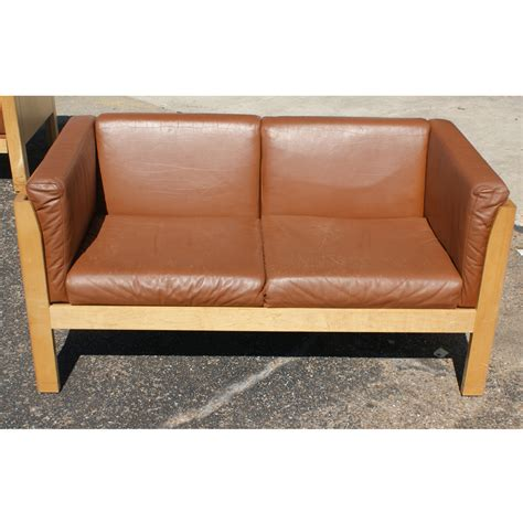contemporary arts crafts style metro leather settee ebay